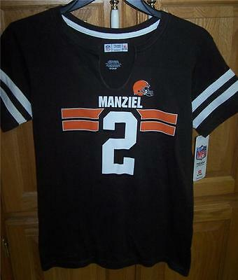Cleveland Browns NFL Player #2 MANZIEL V-Neck T-Shirt Womens LARGE