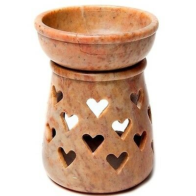 FindSomethingDifferent Aroma Lamp Heart Brown Soapstone Tea Candle Holder