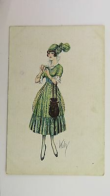 1918 Vintage Postcard WW1 Glamour Fashion Willy Haute Couture Reticule Milinery