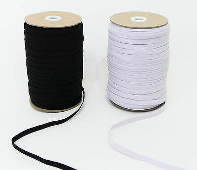 Flat Knitted Elastic 6mm / 1/4 inch & 8mm / 1/3 inch Black or WhitePremiumGrade