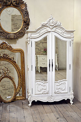 DUSX French Rococo Antique White Armoire Wardrobe with Bevelled Mirrored Doors