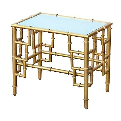 Gin Shu Mirrored Table Side Bedside Gold Bamboo Style Living Room Dining Room
