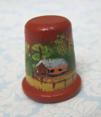 Older Thimble Hand Painted Barn Tree's Cottage Wood Amazing Detail M10