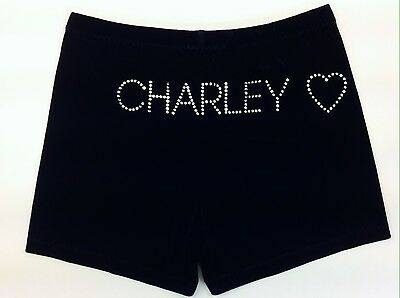 Gazelle Personalised Gymnastics/Dance Shorts with Heart. Black Stretch Velvet