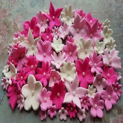60 Edible Sugar Paste Flowers Cake Cupcake Toppers Decorations