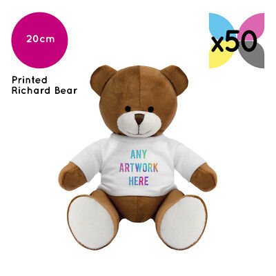50 Personalised Promotional Soft Toys Richard Teddy Bears Gifts Ur Logo Printed