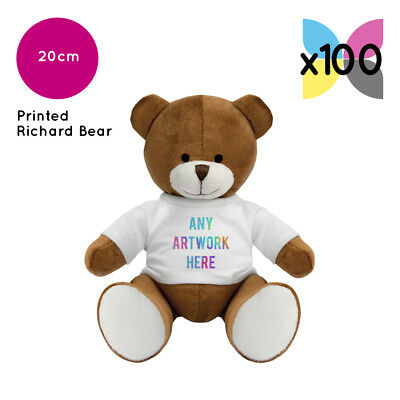 100 Personalised Promotional Soft Toys Richard Teddy Bears Gifts Ur Logo Printed