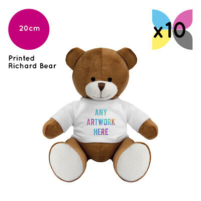 10 Personalised Promotional Soft Toys Richard Teddy Bears Gifts Ur Logo Printed