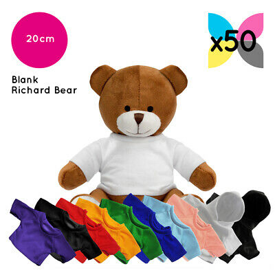 50 Richard Teddy Bears Soft Toys W/ Plain Blank Printable Garments / Hoodies