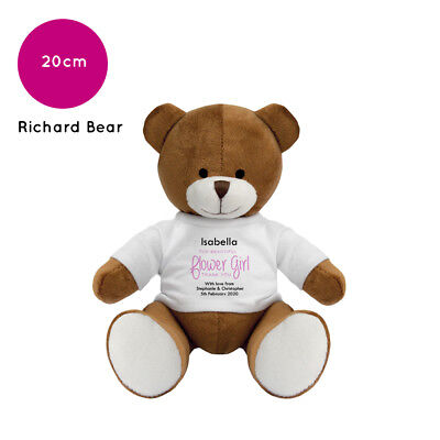 Personalised Name Flower Girl Richard Teddy Bear Wedding Favour Thank You Gift