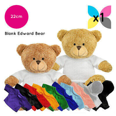 1 Edward Teddy Bear Soft Toy + Blank Printable Sublimation T-Shirt / Hoody