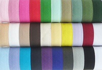 Cotton Bias Binding 25mm / 1 inch - 10m lengths - Assorted Colours