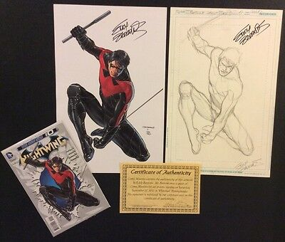 NIGHTWING #0 Comic ORIGINAL LAYOUT SKETCH EDDY BARROWS Signed COA Print Book