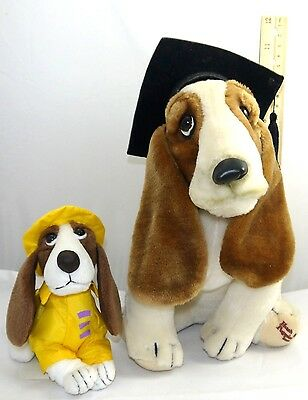 2 Applause Stuffed Plush Brand Hush Puppies Basset Hound Dog 11''  &  6'' Tall