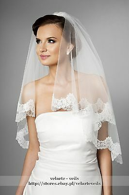 NEW 2 Tier White Elbow Wedding Bridal Veil with french lace