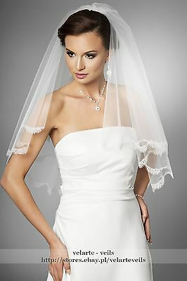 NEW 2 Tier White Elbow Wedding Bridal Veil with delicate french lace