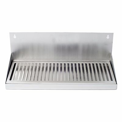 """16"""" Hanging Door Mount Draft Beer Drip Tray No Drain Removable Grate Stainless"""