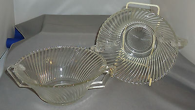 Federal Glass Diana Clear Two Handled Cream Soup Bowls