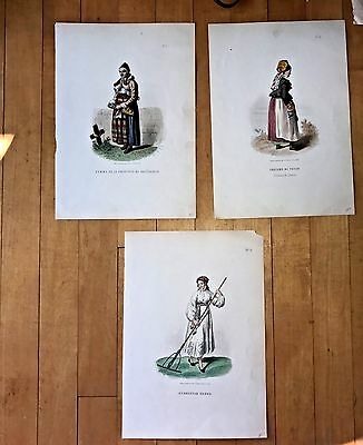 Antique French Color Lithos of Costumes/Fashions 1850-60,Set of Three! No.1,4,&9