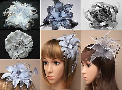 Ascot/Races Silver Grey Flower/Hat Hair Fascinator Clip/Comb/Alice/Headband