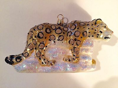 Discovery Channel 2001 Ornimal of the Year SNOW LEOPARD Glass Ornament NIB