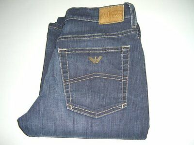 Mens Boys / Girls AJ ARMANI Dark Blue Bootcut Denim Jeans W26 L33 Tall and Slim