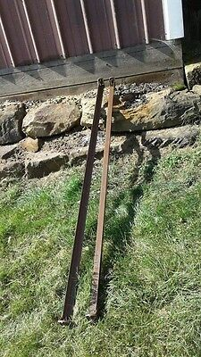 Vintage Steel Brown BED RAILS 75 Inches Square Button Tab Ends