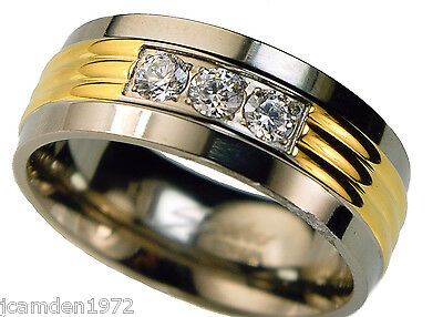 3 stone 1 carat cz wedding band Stainless Steel ring size 9