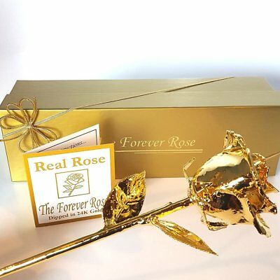 24K Gold Dipped Real Rose w/ Gold Gift Box, preserved & plated in pure 24 K Gold