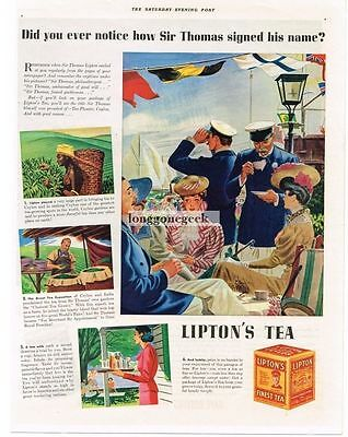 1938 Lipton's Tea Yachtsmen Gay Nineties art Vtg Print Ad