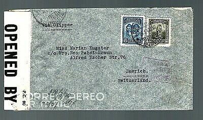 1943 air mail cover Scadia by clipper double censor  (x026)