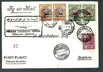 middle east First flight cover Tehran to Buchir cache air mail overprints (x009)