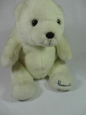 HARRODS Foot Dated 1989 Christmas Polar Bear Teddy Rare - Vintage White Soft Toy