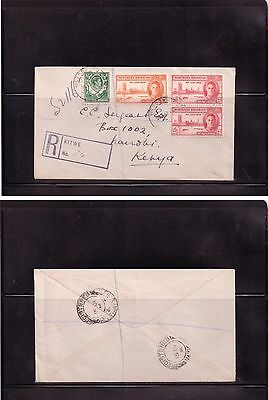 British Empire - Northern Rhodesia 1946 Postal history Registered cover to Kenya