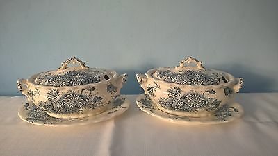 """ANTIQUE PAIR OF TUREENS LATE MAYERS 1790 KEELING & Co """"DAISY"""" WITH  LIDS/PLATES"""