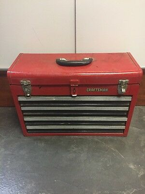 Craftsman 4 Draw Metal Toolbox With Tool Lid Red Heavy Duty Tool Box