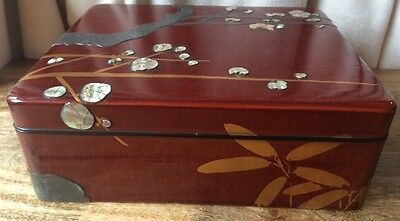 Oriental Mother Of Pearl Inlay Calligraphy Box Set - ANTIQUE RARE (A1)