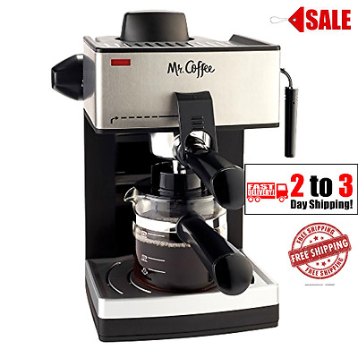 Espresso Coffee Machine Capuccino Latte Maker Steam Milk Frothing 4 Cup Black