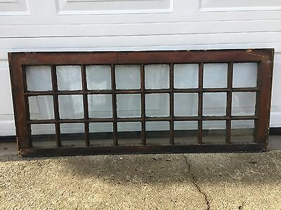 Shabby Antique 24 Pane Lite Wood Mullion Flat Glass Transom Window Pickup