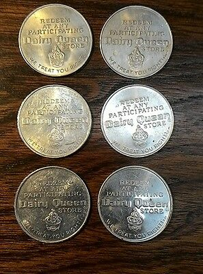(6) 1960 Original Vintage  Dairy Queen Tokens $.40 off NOS scarce and hard find