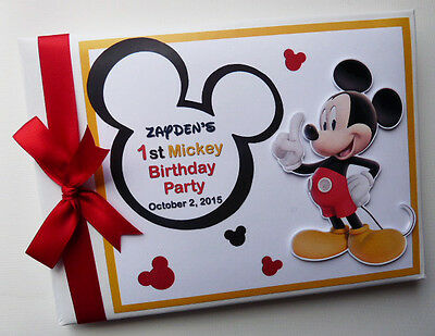 Personalised Mickey Girl /boy First/1St Birthday Guest Book Any Design
