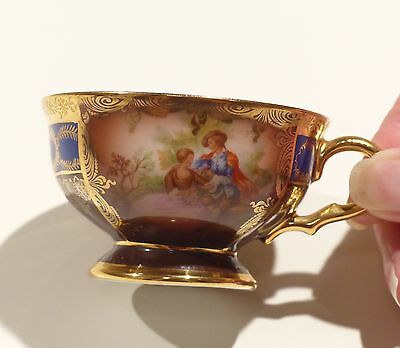 Gorgeous Gold and Blue Vintage Hutschenreuther Selb Bavarian Teacup and Saucer