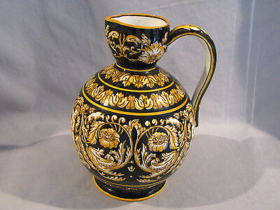 Antique FRENCH GIEN FAIENCE POTTERY JUG PITCHER - 1860s-70s - CHERUBS