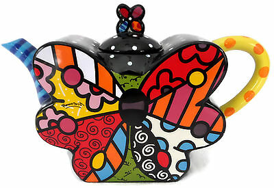 Romero Britto Large Butterfly Design Teapot Bright Colors Giftcraft