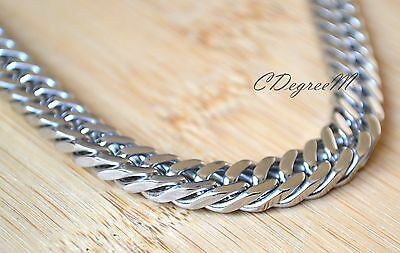 Solid Stainless Steel Plain Thick Chunky Chain Necklace Long High Quality Silver