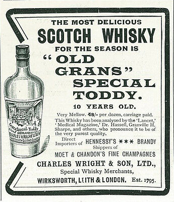 1906 Old Grans Special Toddy Scotch Whiskey Original Print Ad