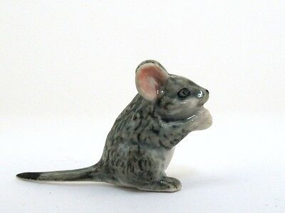 Hand Painted Miniature Collectible Ceramic Grey Mini Mouse Figurine