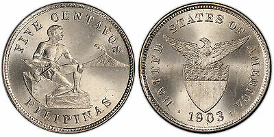 US Philippines 1903-P Five Centavos PCGS MS 64 ~CPPM~