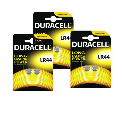 6x Duracell LR44 1.5V Button Coin Cell Battery A76 2 Pack Alkaline Batteries