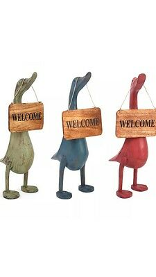 Wooden Welcome Ducks , New Comes In Three Different Colours